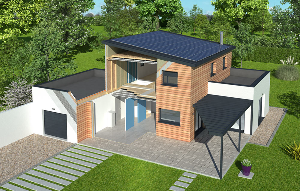 D couvrez la premi re maison nergie positive ossature for Maison a energie positive plan