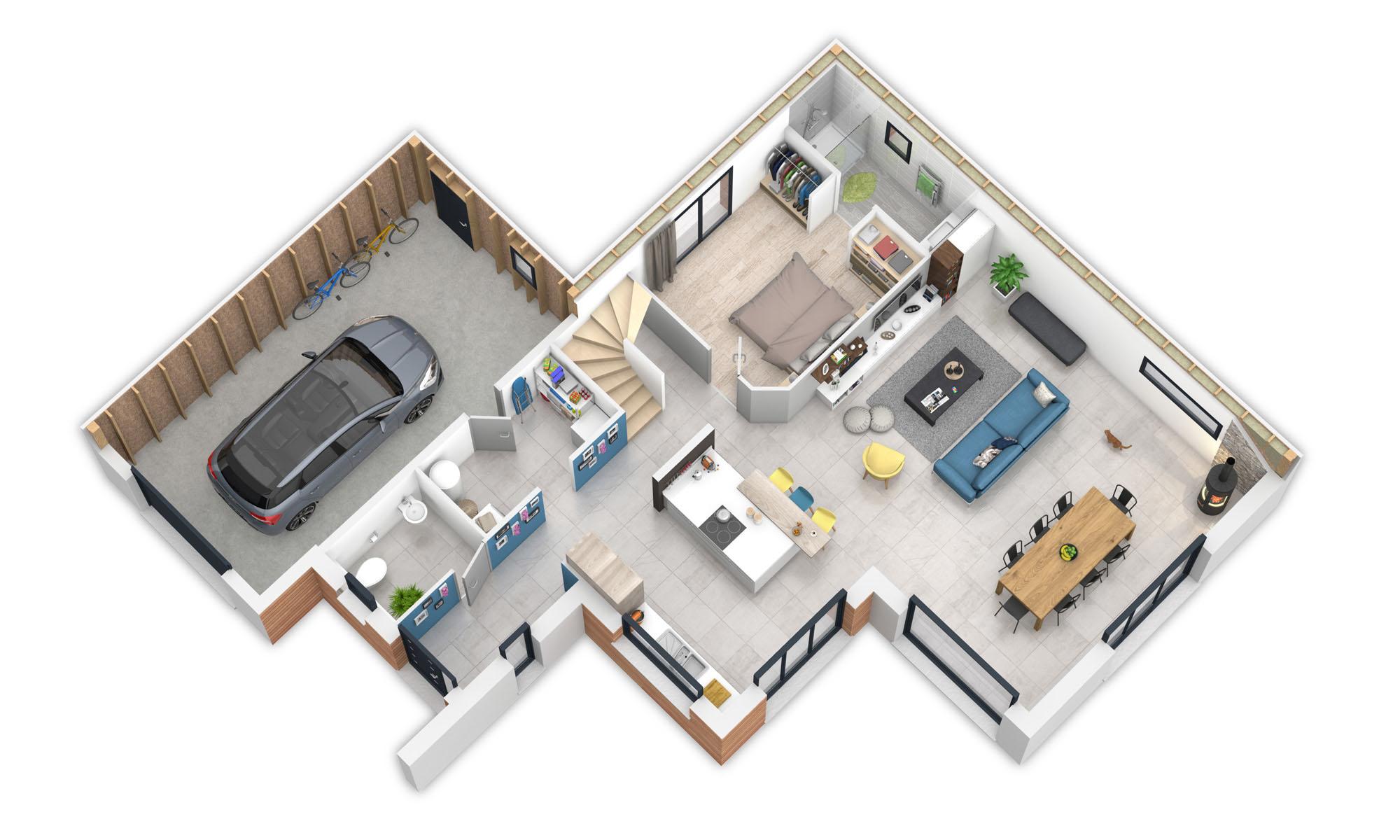 Offre du mois offrez vous une maison bepos natilia for Plan interieur maison en d