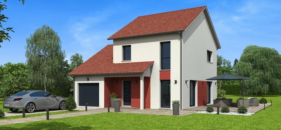 facade maison avec tuile rouge