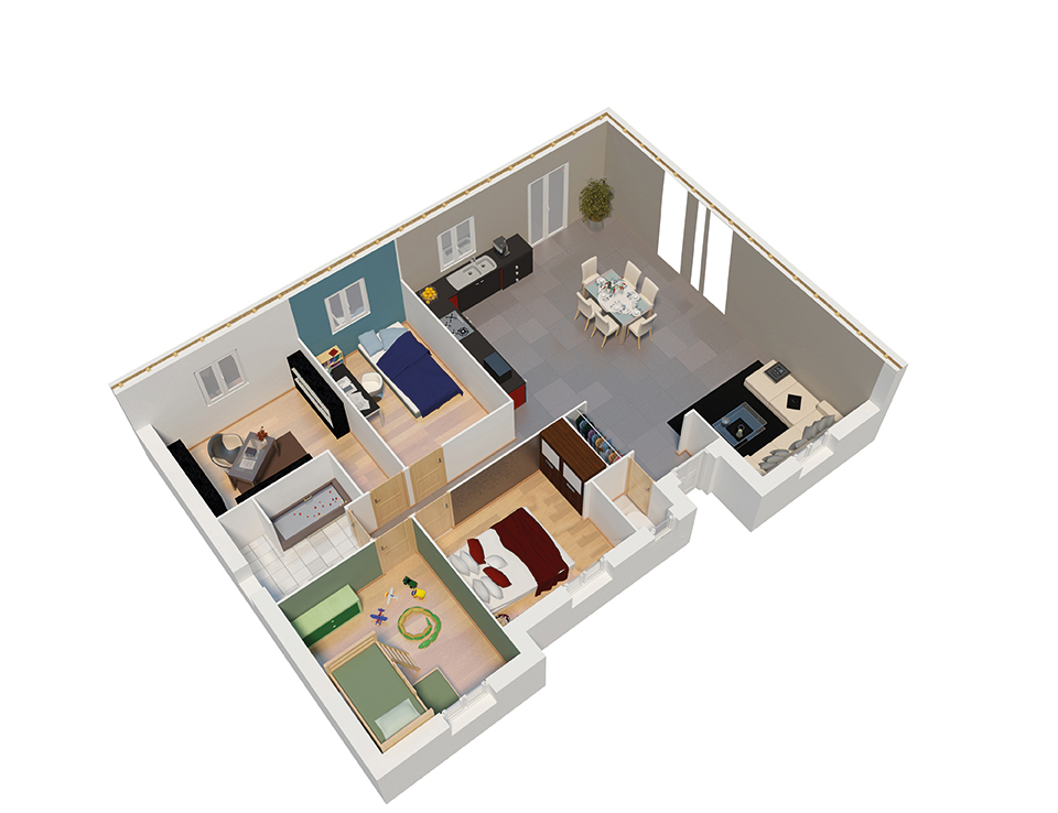 Plan 3d maison ossature bois for Plan 3d amenagement interieur