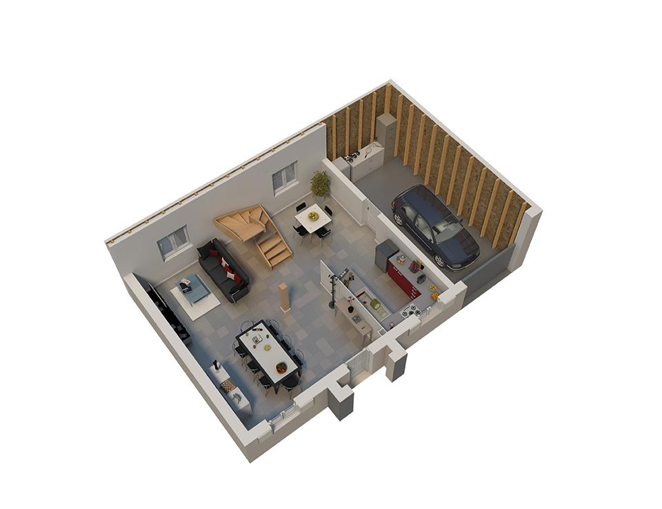 Plan maison bois mod le natiline ardoise natilia for Plan interieur maison en bois