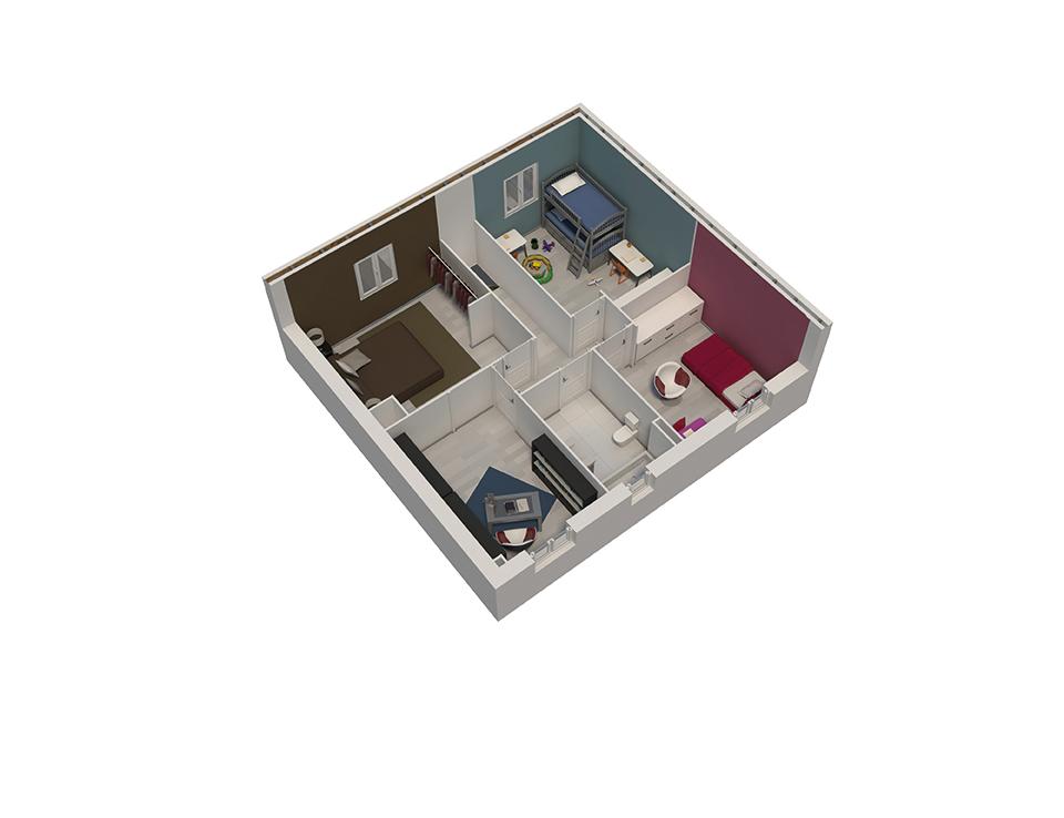 plan maison bois mod le natiming 4 chambres cuivre natilia. Black Bedroom Furniture Sets. Home Design Ideas