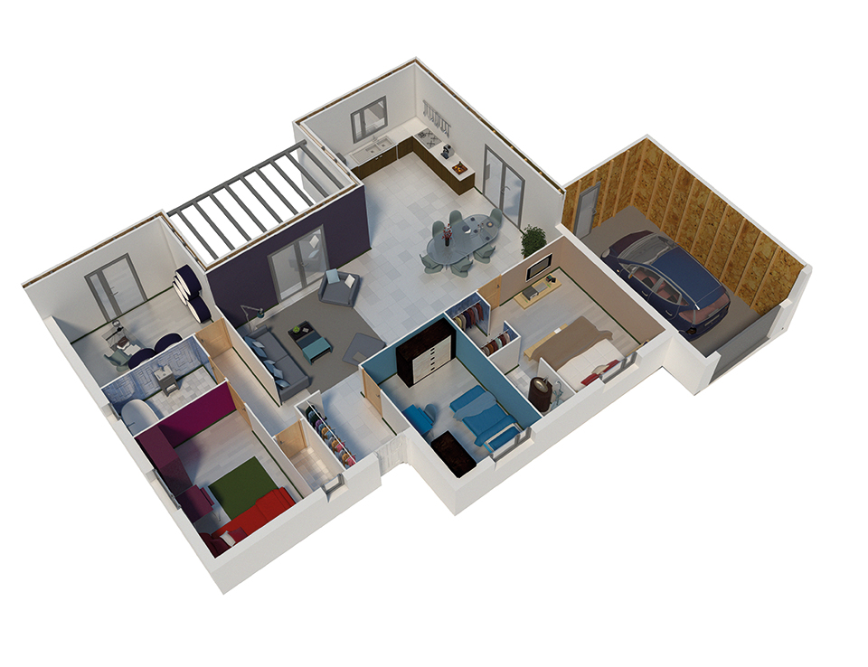Plan maison bois mod le natimo toit plat bardage for Plan interieur maison en bois