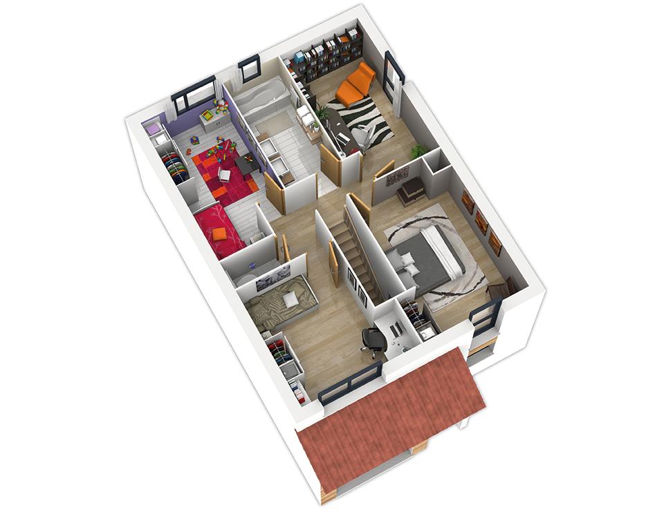 maison ossature bois plan natirane etage natilia 4