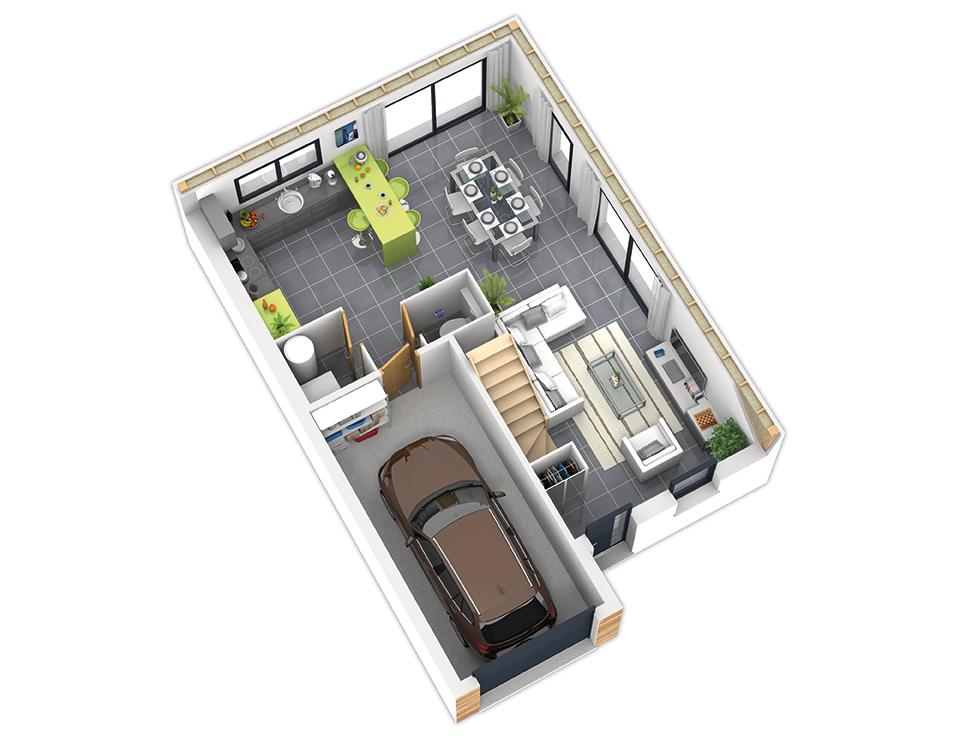 Plan maison bois mod le natirane ardoise natilia for Plan interieur maison en bois