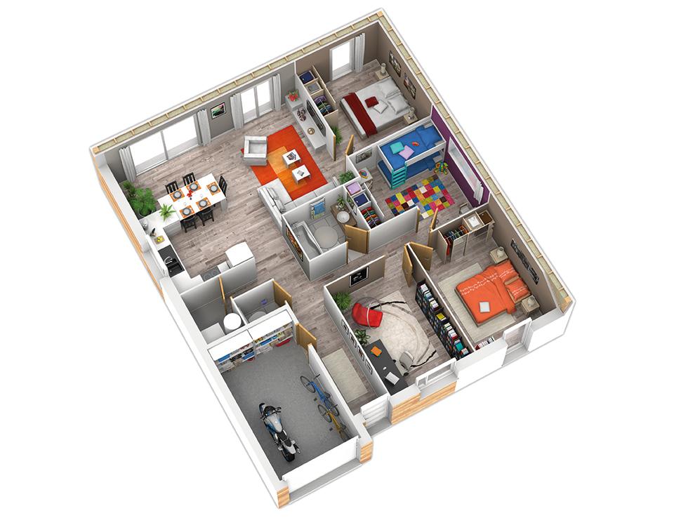 plan maison bois mod le natirena ardoise natilia. Black Bedroom Furniture Sets. Home Design Ideas