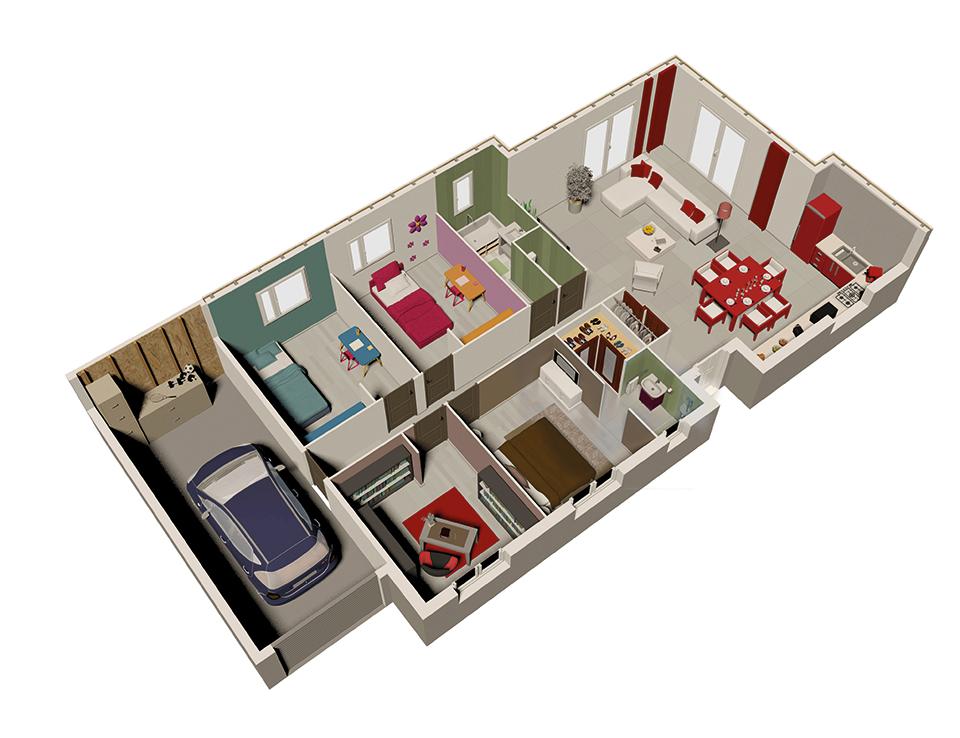 Plan maison bois mod le natir o cuivre natilia for Plan maison ossature bois