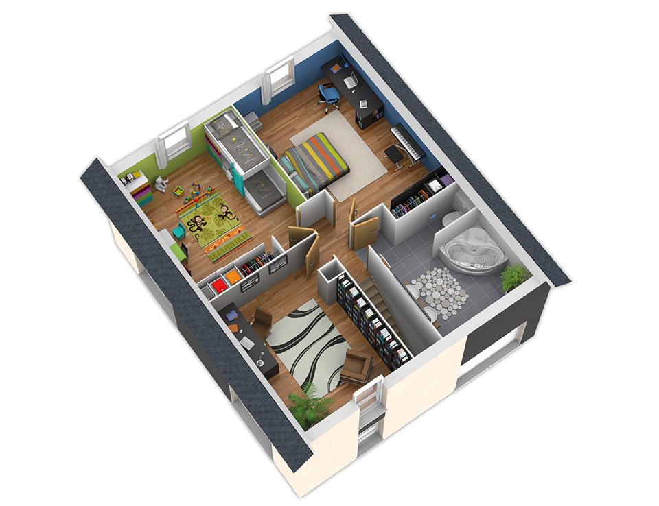 Plan maison bois mod le nativ o ardoise natilia for Plan interieur maison en bois