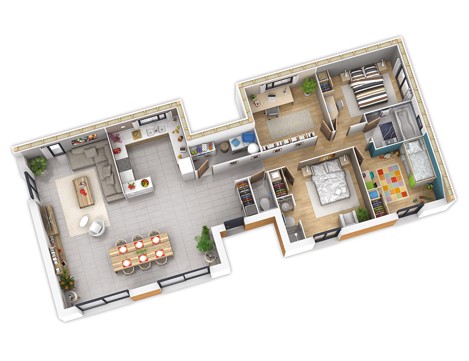 Amenagement interieur maison en bois for Plan 3d amenagement interieur