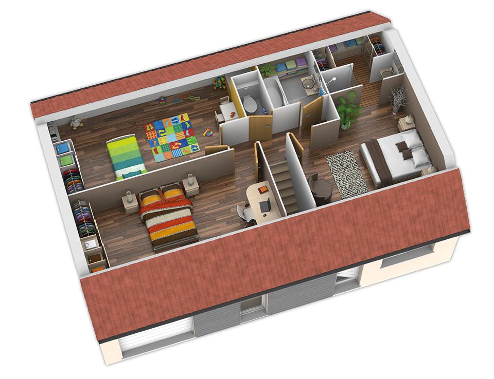 Salle De Bain Ouverte Sur Jardin : Plan Maison Bois: modèle Nativio Plates Rouges