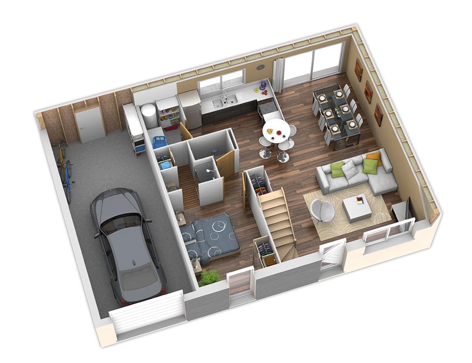 Plan maison bois mod le nativio bacacier version montagne natilia for Plan interieur de maison cubique
