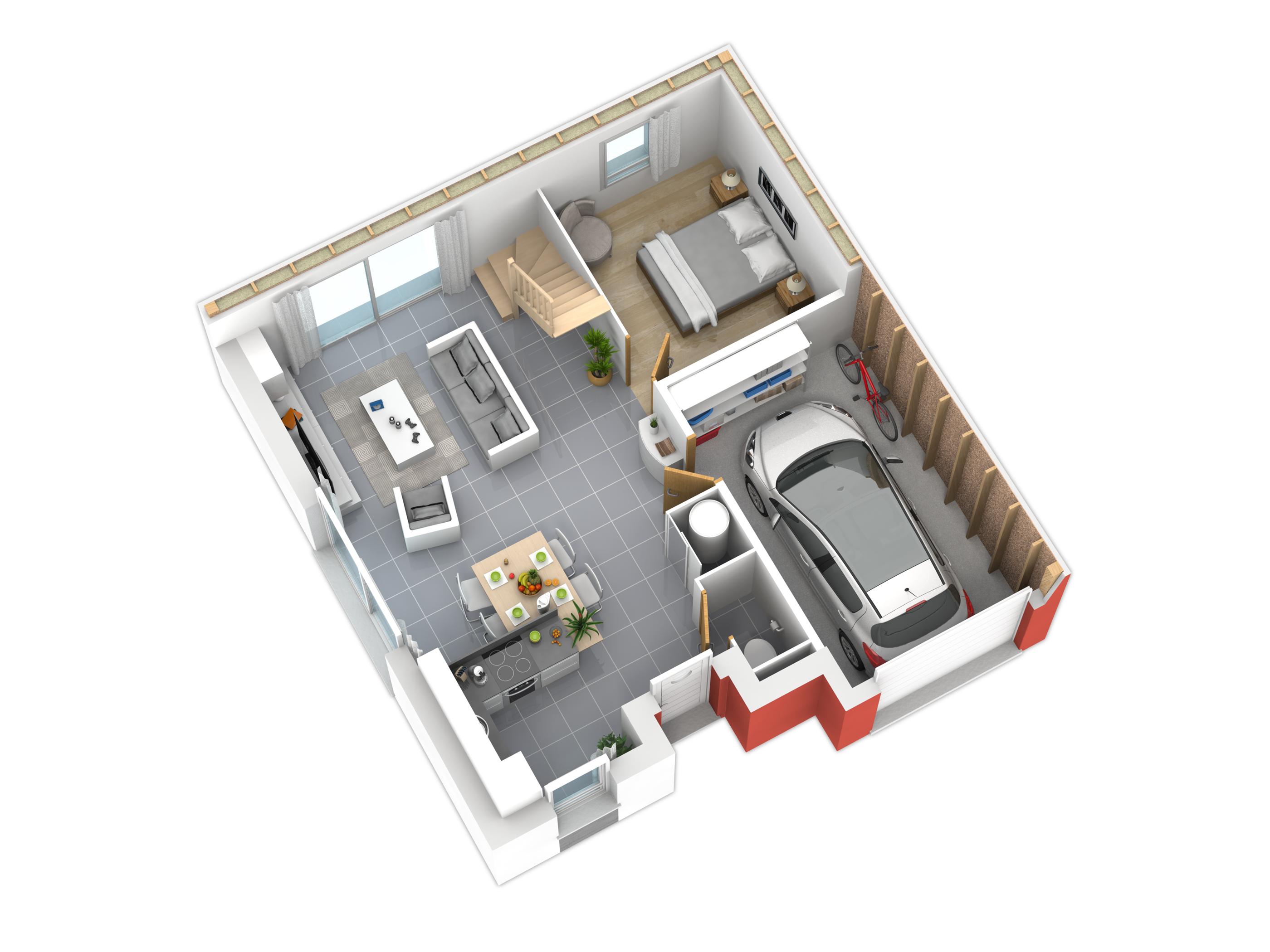 Plan maison bois mod le natiming 3 chambres plates rouge for Modele maison 5 chambres