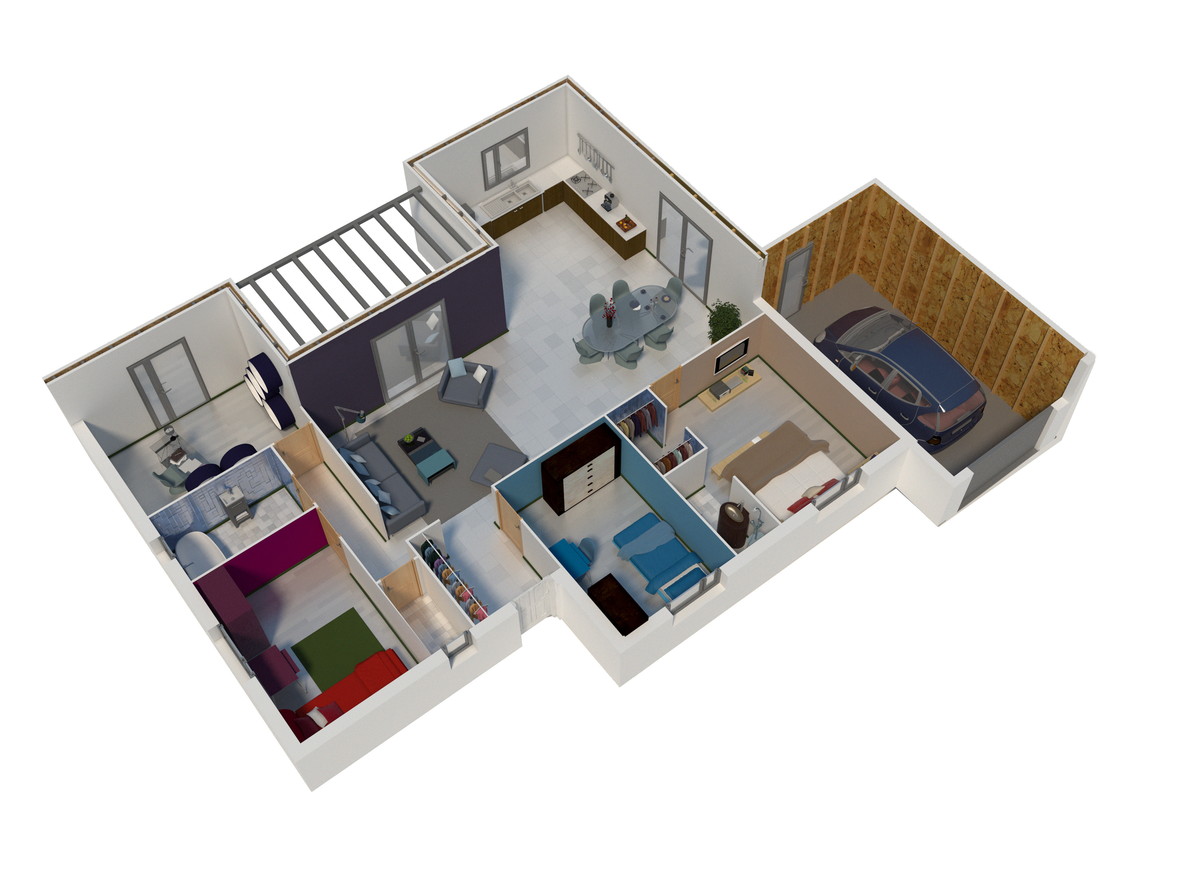Plan maison bois mod le natimo toit plat natilia for Maison toit plat en l