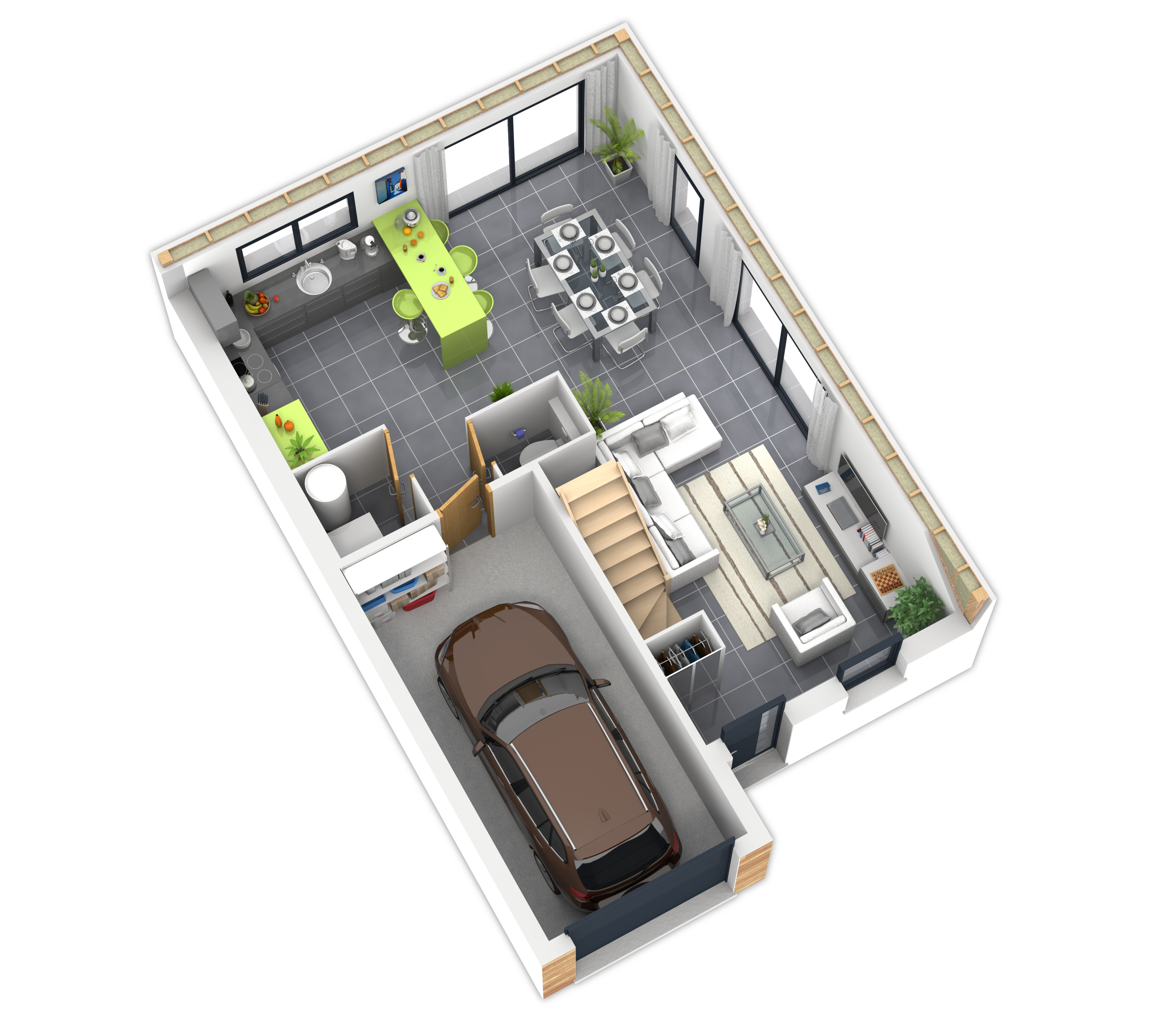 Plan maison bois mod le natirane terre de soleil natilia for Plan amenagement interieur maison