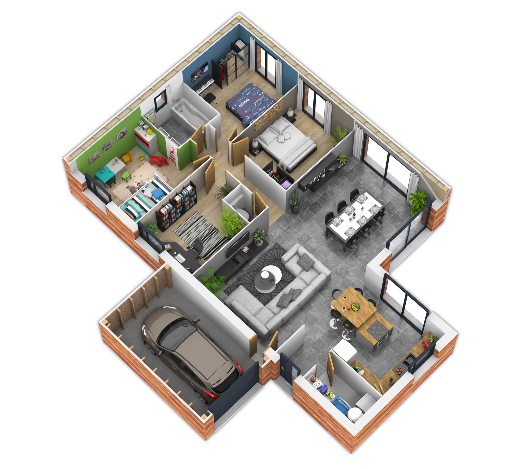 Natisoon toit terrasse mod le de maison en bois natilia for Plan maison exterieur