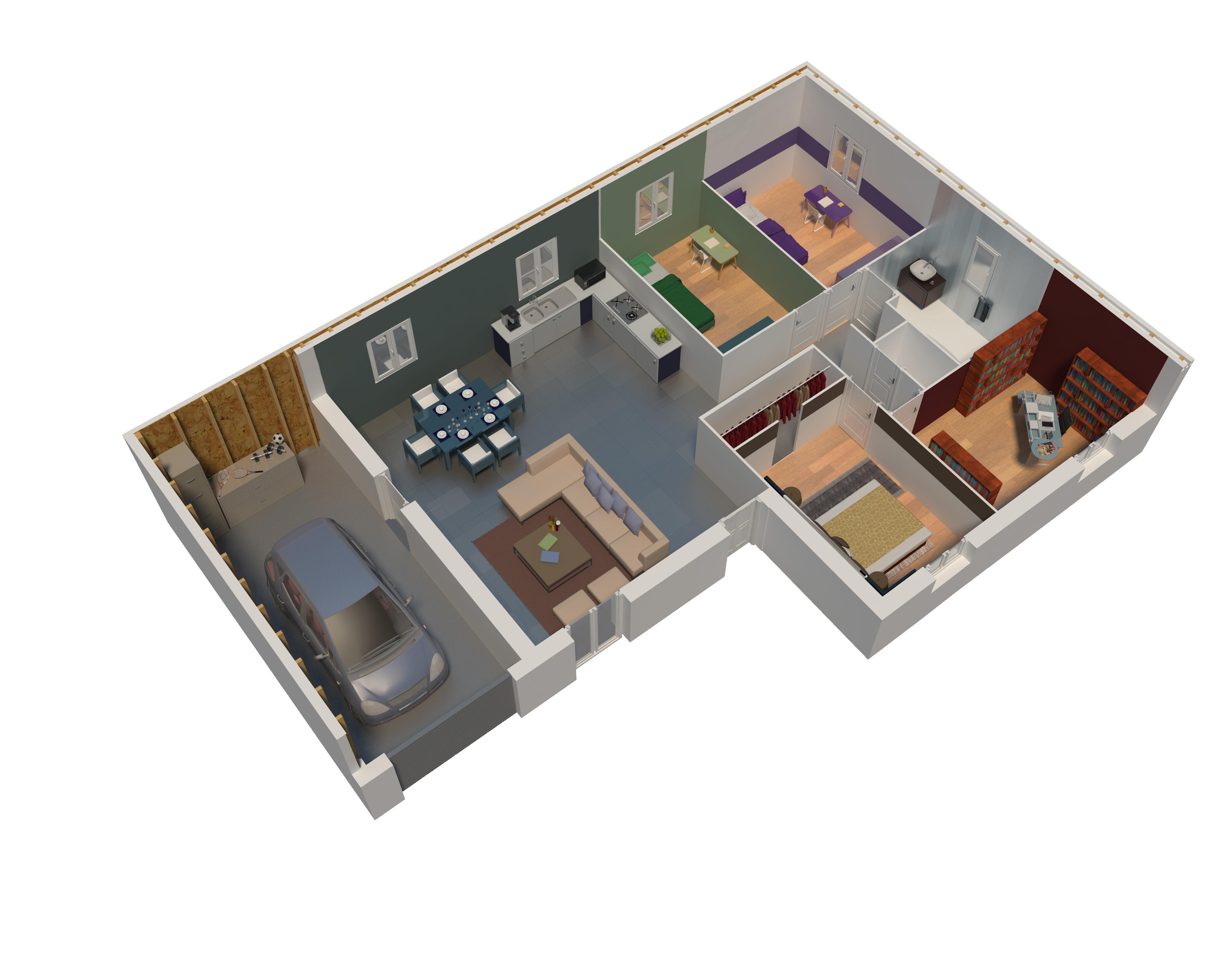 Plan maison bois mod le natilys 4 pans ardoise natilia for Plan dinterieur de maison