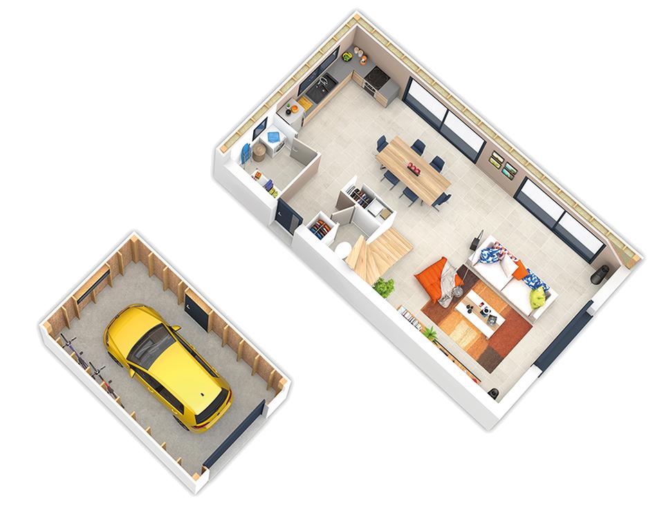 maison ossature bois plan naticube rdc natilia