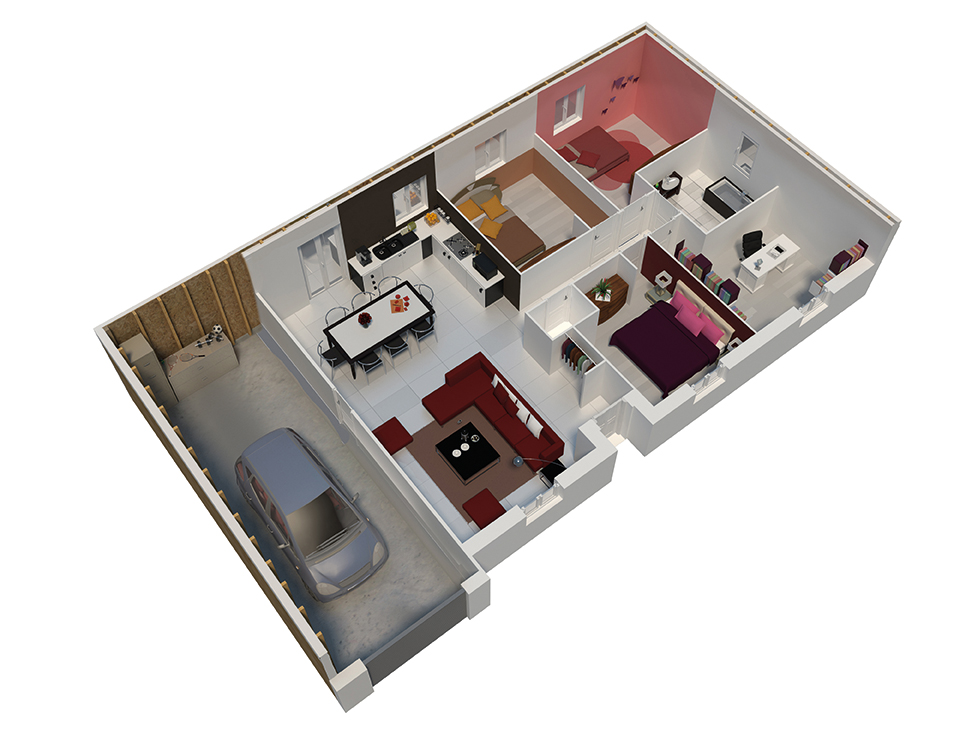 Plan Maison Natilia : Plan maison ossature bois natigao cuivre natilia