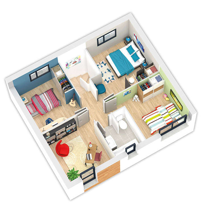 maison ossature bois plan natiline etage natilia 5