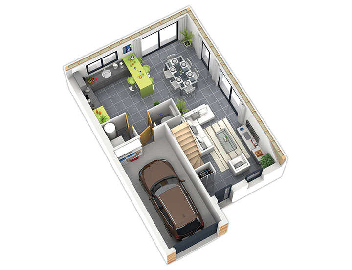 maison ossature bois plan natirane rdc natilia