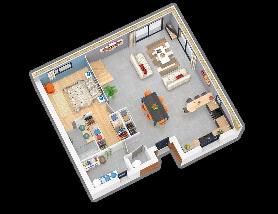 plan maison ossature bois natirey plate rouge natilia. Black Bedroom Furniture Sets. Home Design Ideas