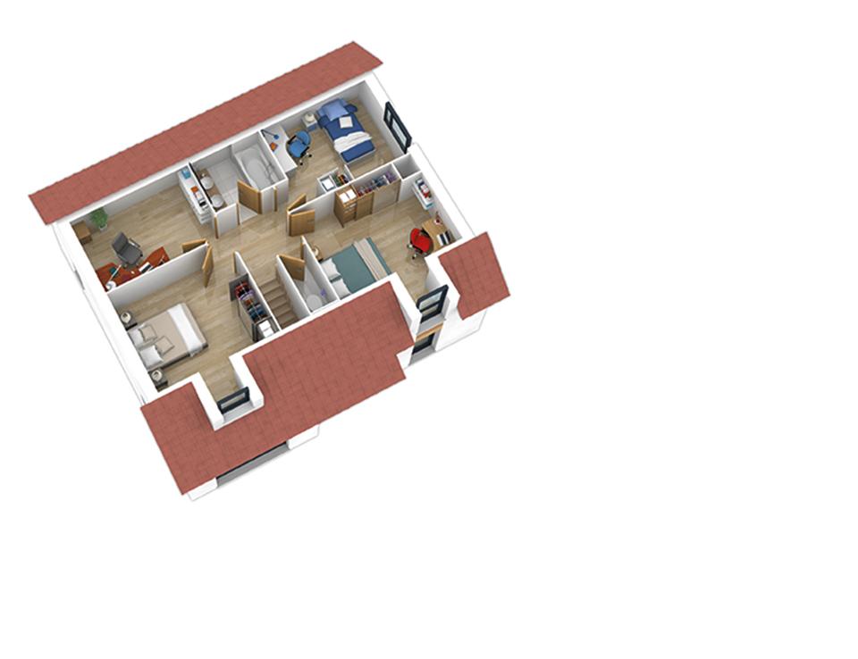 plan maison ossature bois natishen ardoise version montagne natilia. Black Bedroom Furniture Sets. Home Design Ideas