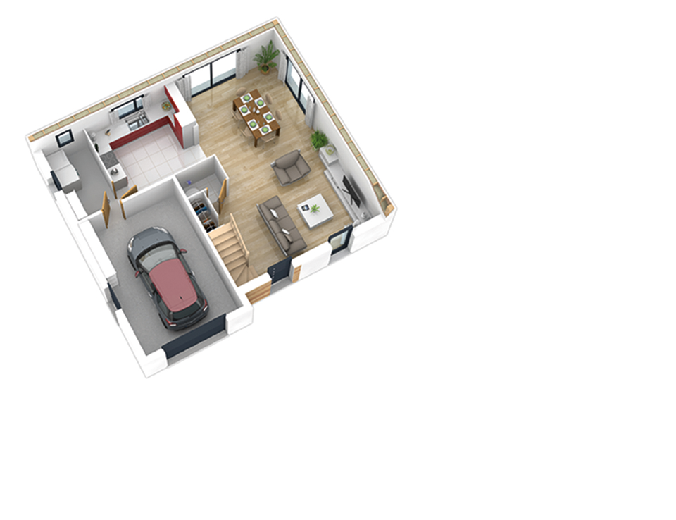 Plan maison ossature bois natishen plates rouge natilia for Plan maison bois