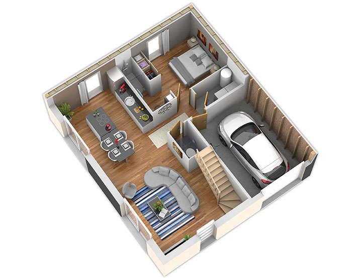 maison ossature bois plan nativeo inter rdc natilia 1