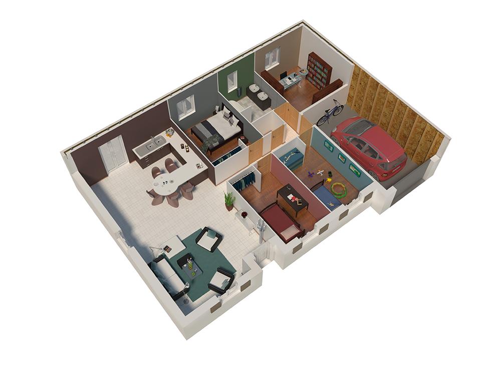 plan maison ossature bois natizen cuivre natilia. Black Bedroom Furniture Sets. Home Design Ideas